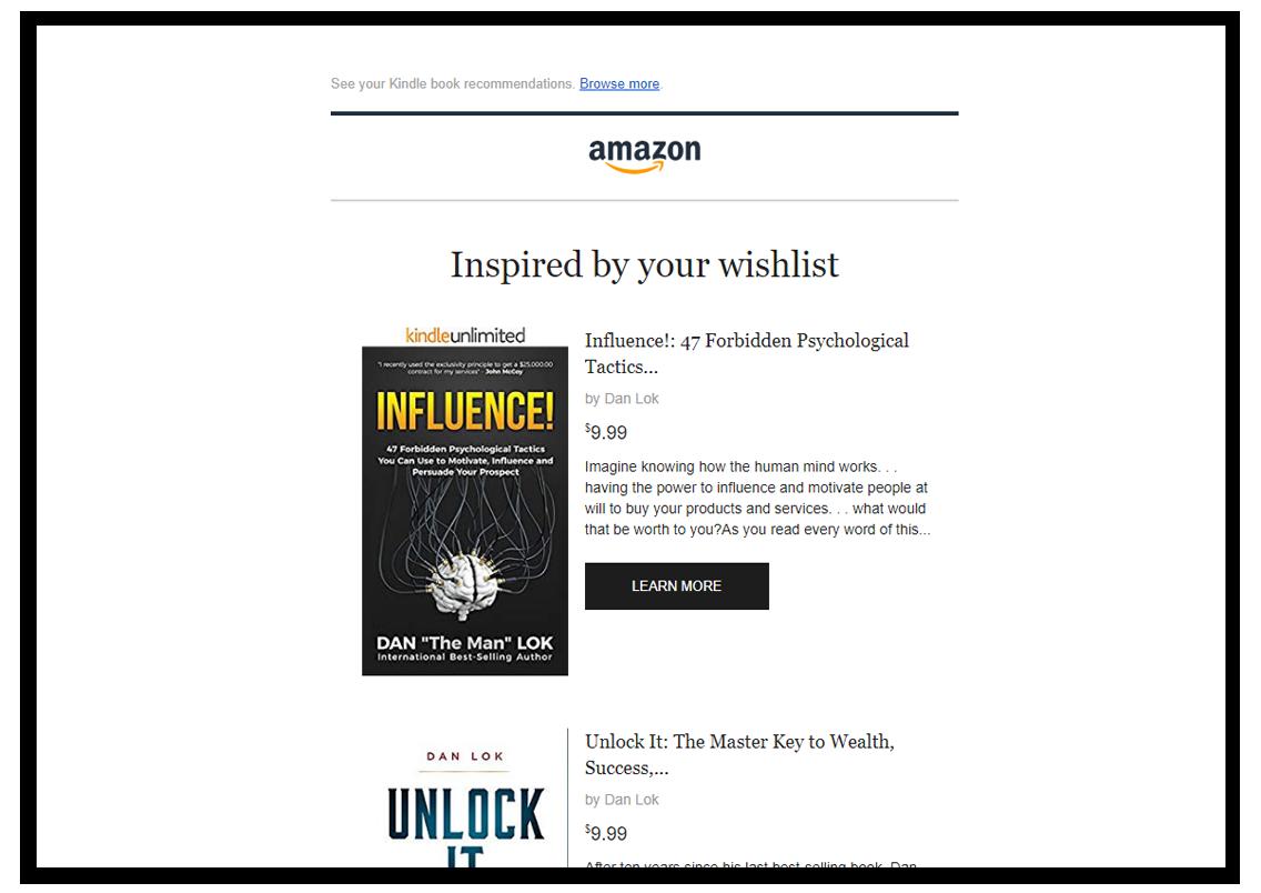 amazon kindle recommendation books email