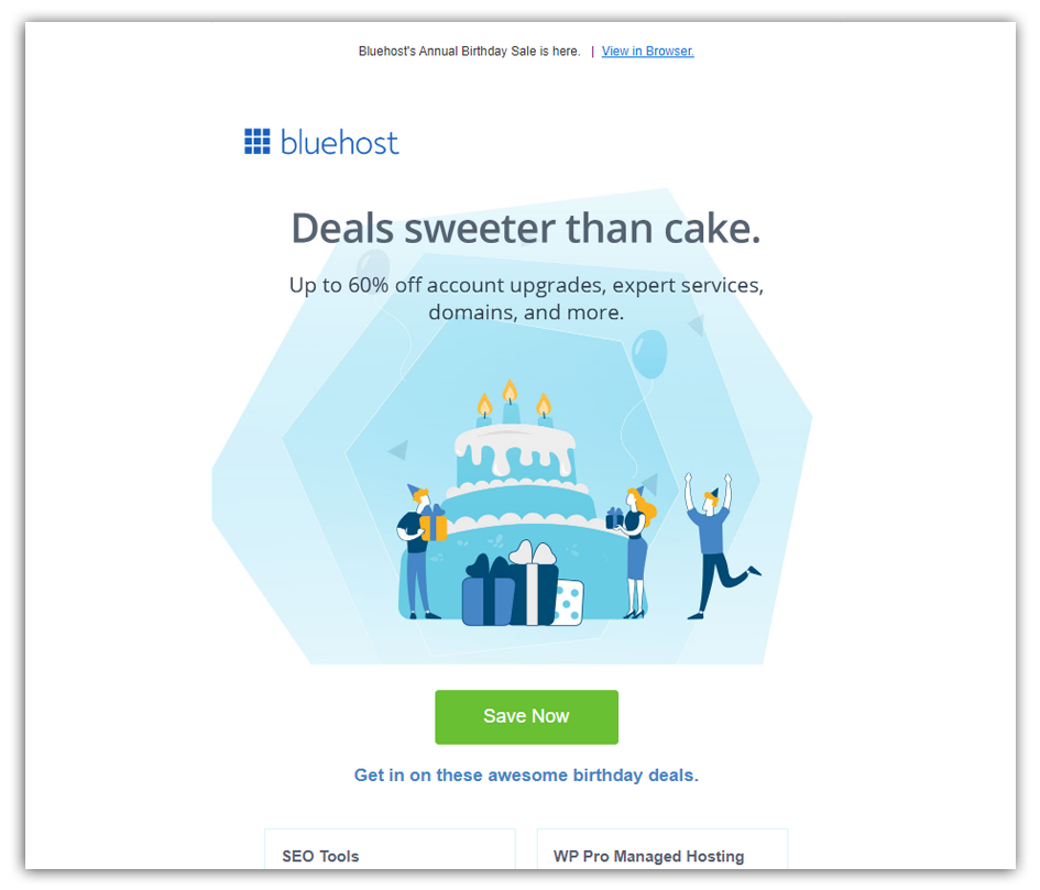 bluehost email anniversary birthday