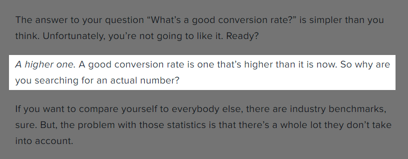 What a good conversion rate is according to Brandon Weaver