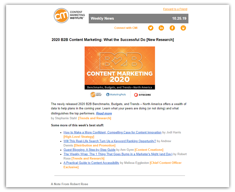 content marketing institute weekly newsletter