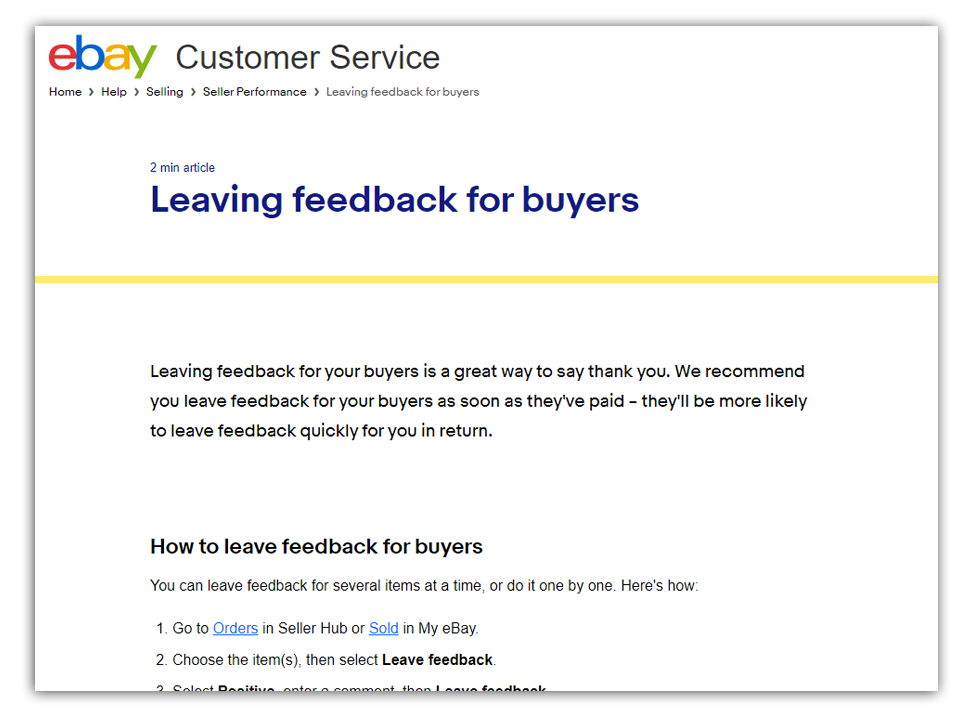 leaving for feedback page on ebay
