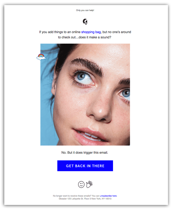 glossier abandoned shopping cart abandonment email