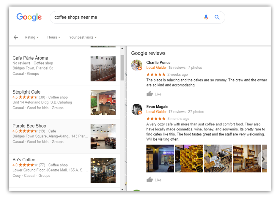 coffee shops near me on google search engine results page