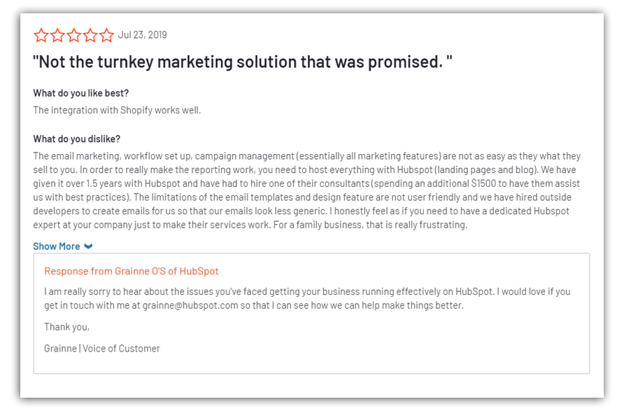 a negative review of hubspot on g2 crowd