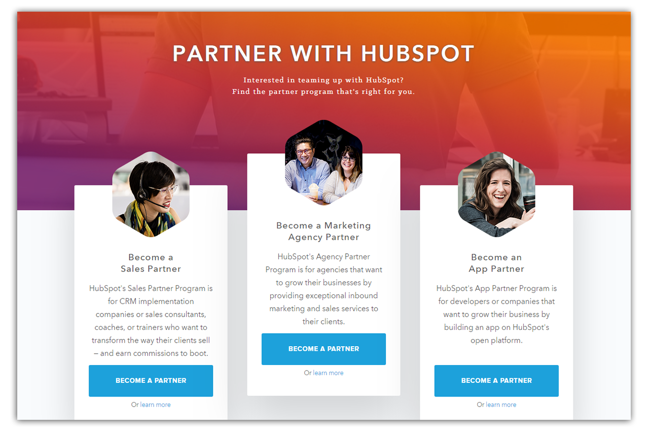 hubspot partner program as marketing agency, sales partner, and app partner