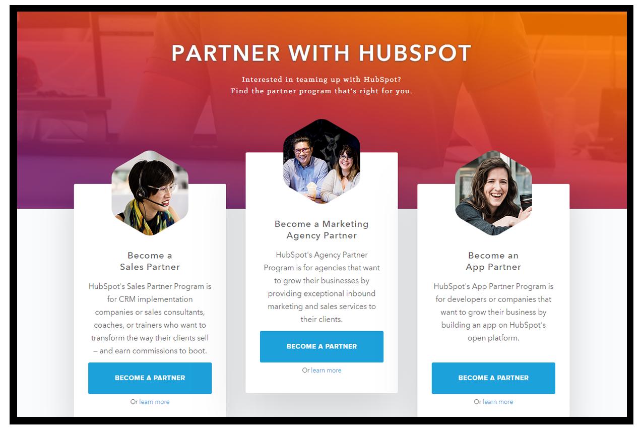 hubspot partner program as marketing agency, sales partner, and app partner