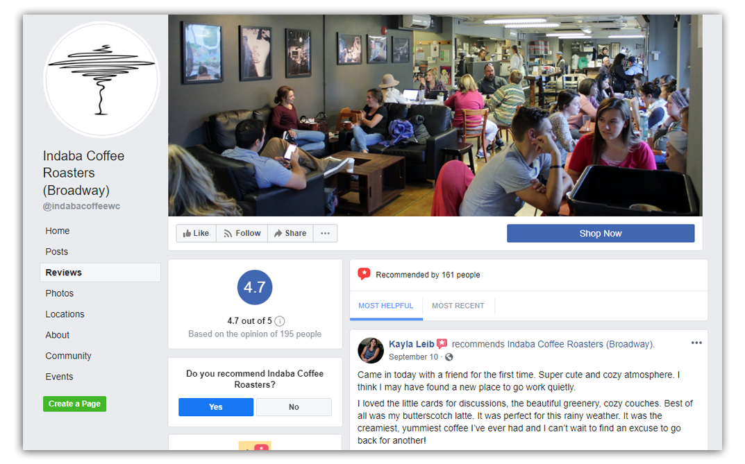 indaba coffee roasters facebook page