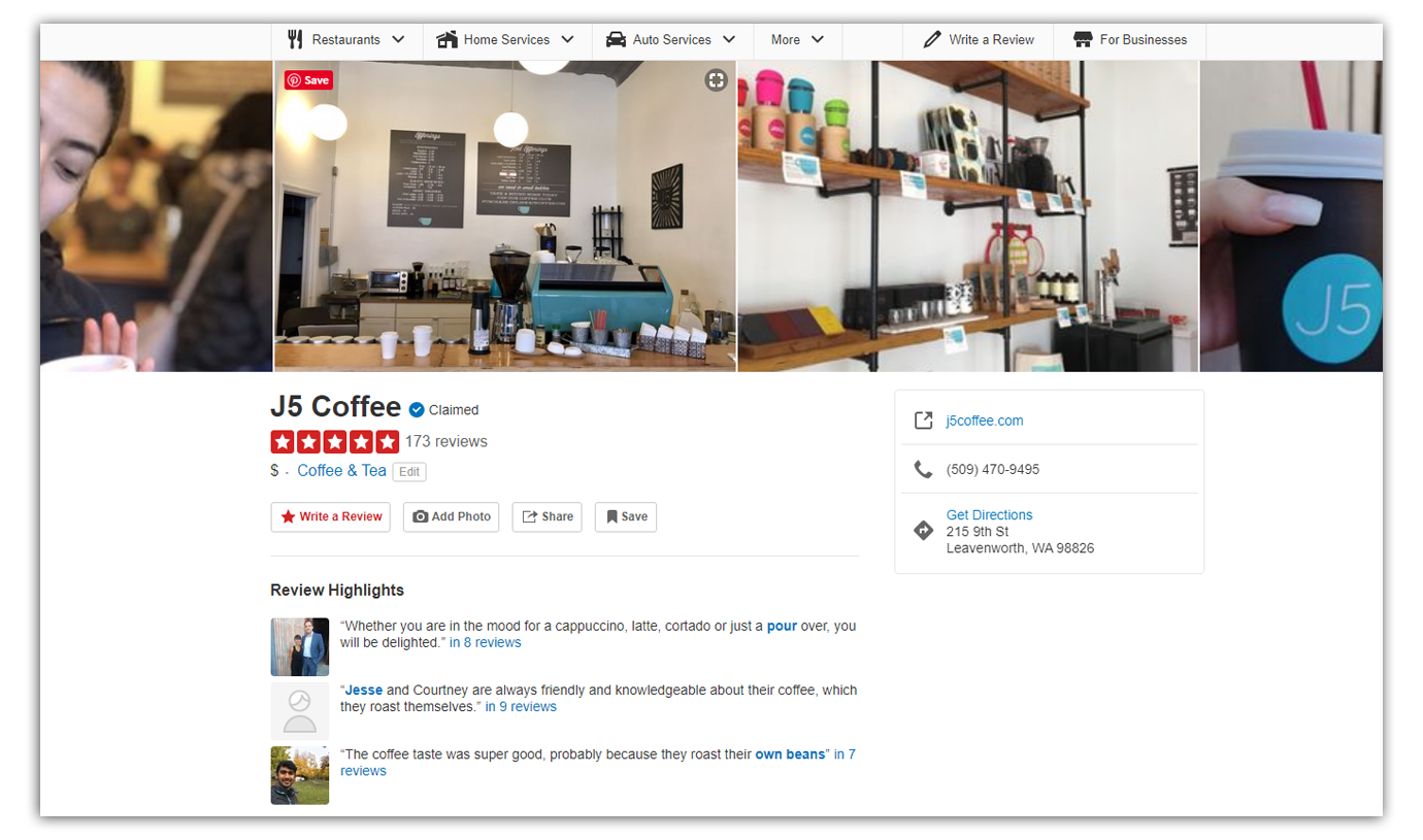 j5 coffee yelp reviews page