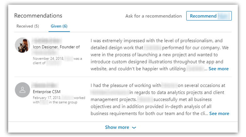 linkedin recommendation on a profile