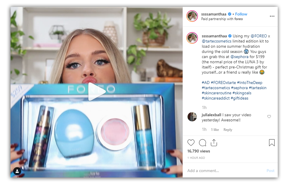 samantha ravndahl on instagram advertising the foreo brand
