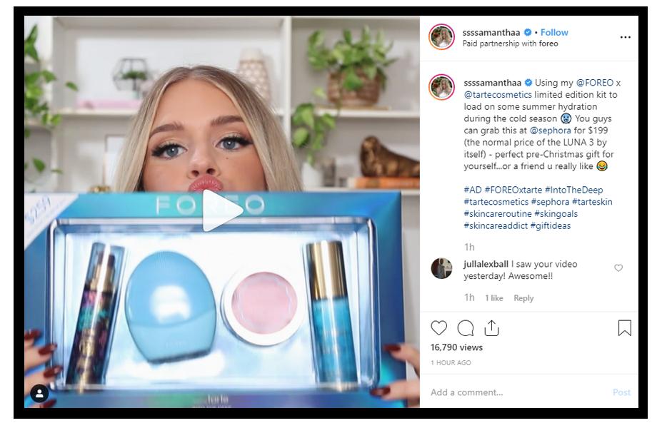 samantha ravndahl on instagram advertising the foreo brand