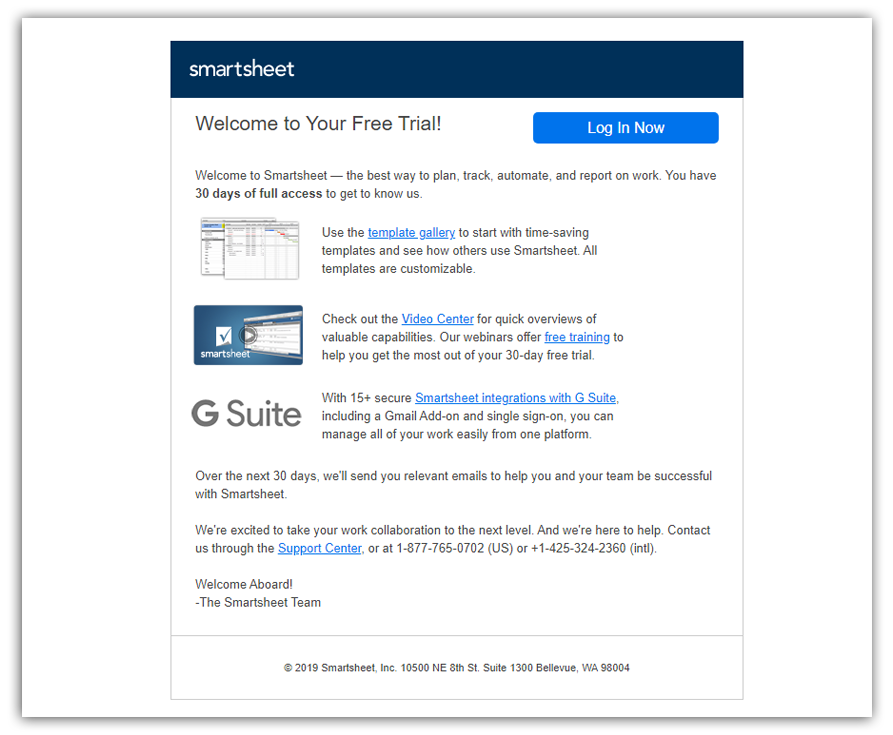 welcome email from smartsheet