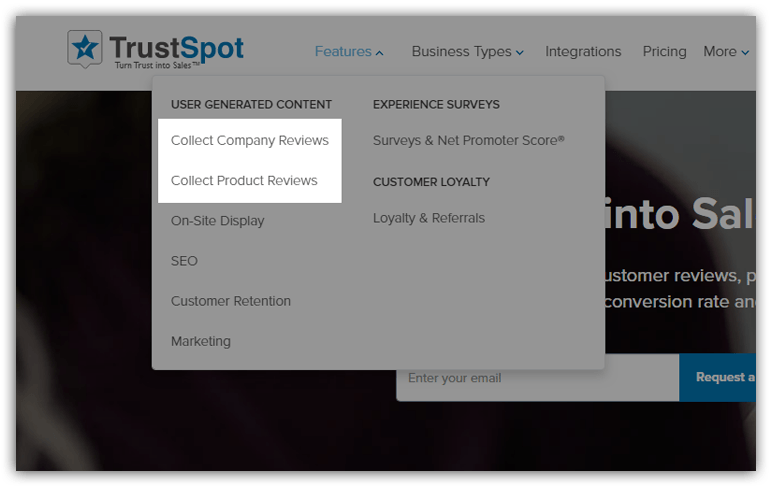 TrustSpot features: Collect Company Reviews and Product Reviews
