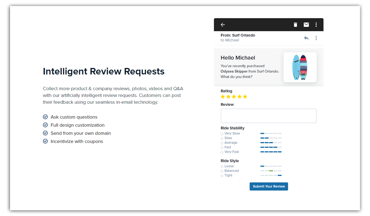 intelligent review requests feature from trustspot