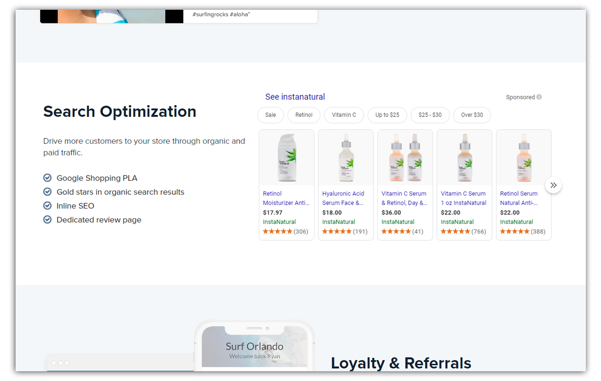 search optimization feature from trustspot