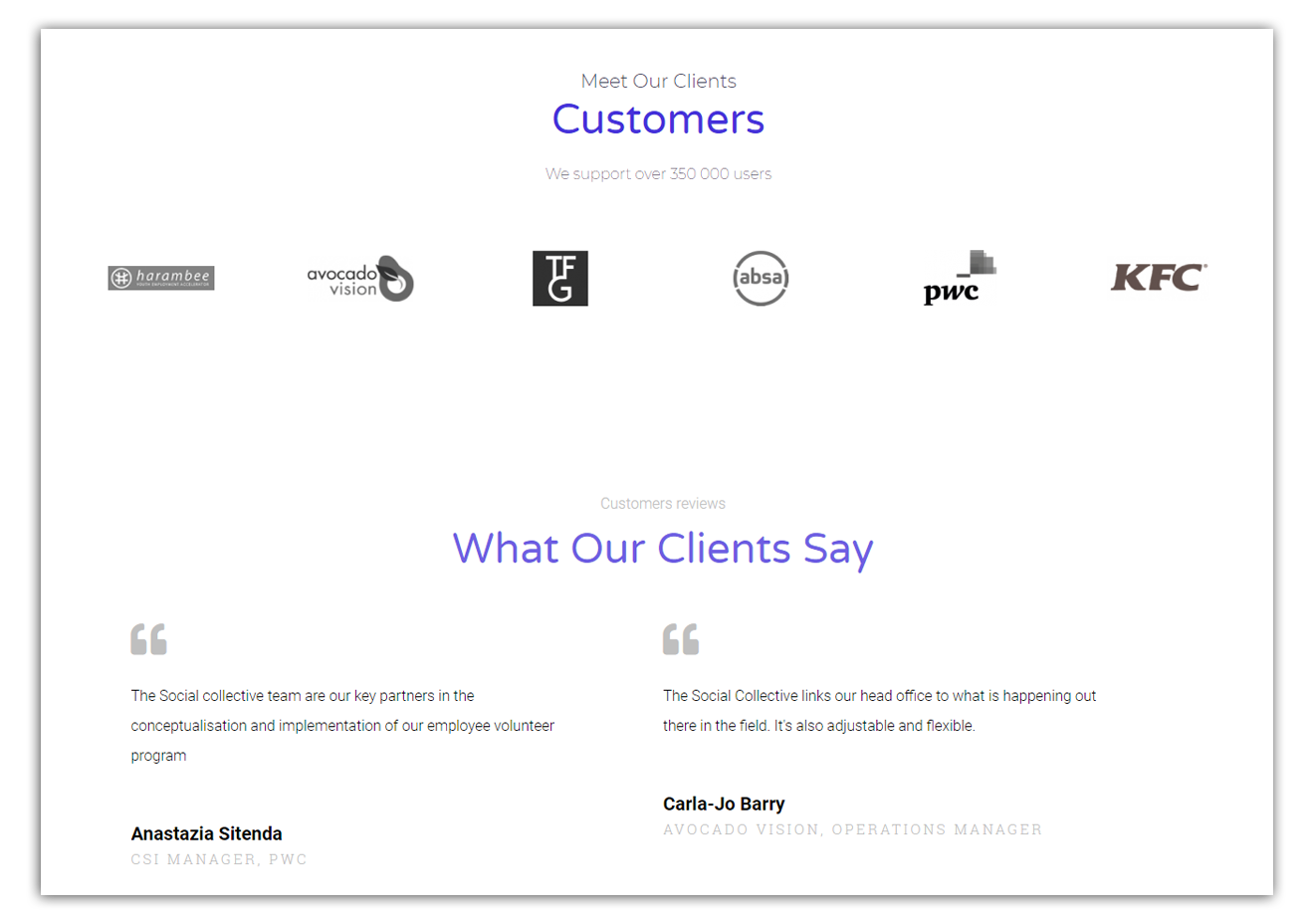 what clients of the social collective say about them